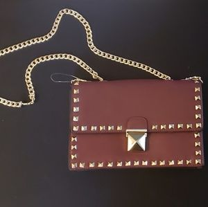 Burgendy Red / Gold Faux Leather Crossbody Purse
